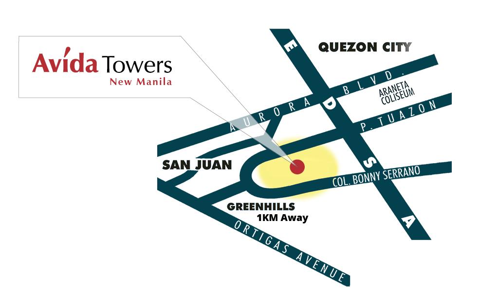 Avida Towers New Manila Location Map